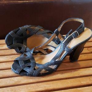 Tahari Black Leather High Heel Sandals